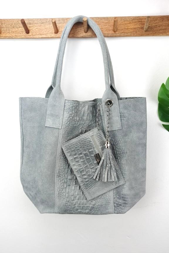 τσάντα-δέρμα-κροκό-γκρι