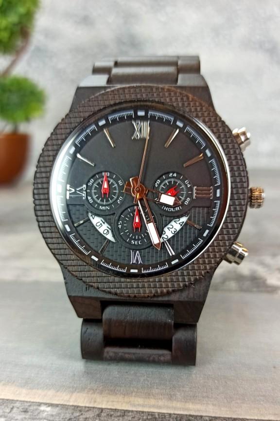 ξύλινο-ρολόι-χρονογράφος-μαύρο