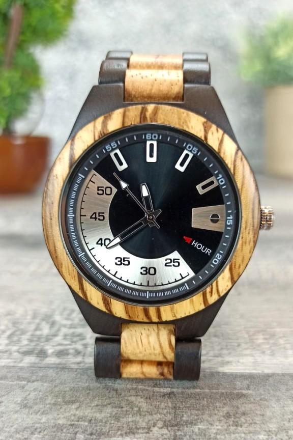 ξύλινο-ρολόι-χειρός-μπρασελέ-ασημί-μαύρο