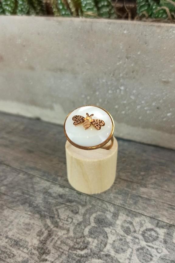 δαχτυλίδι-ατσάλινο-μέλισσα-ροζ-χρυσό