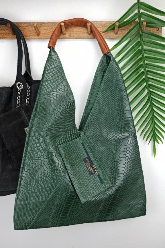τσάντα-δέρμα-φίδι-χακί