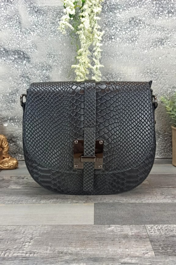 δερμάτινη-τσάντα-στρογγυλή-φίδι-μαύρη