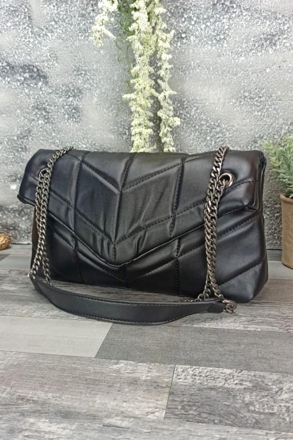 τσάντα-μαλακή-καπιτονέ-μαύρη