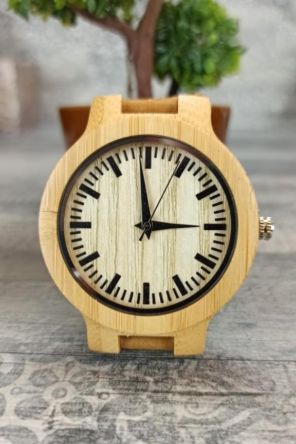 ξύλινο-ρολόι-απλό-μπεζ-λουράκι