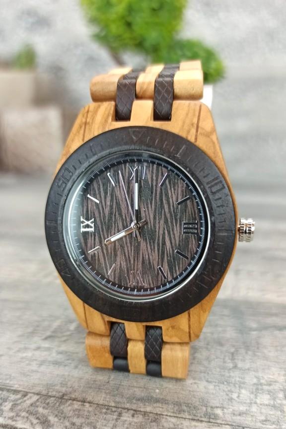 ξύλινο-ρολόι-μπρασελέ-διχρωμία