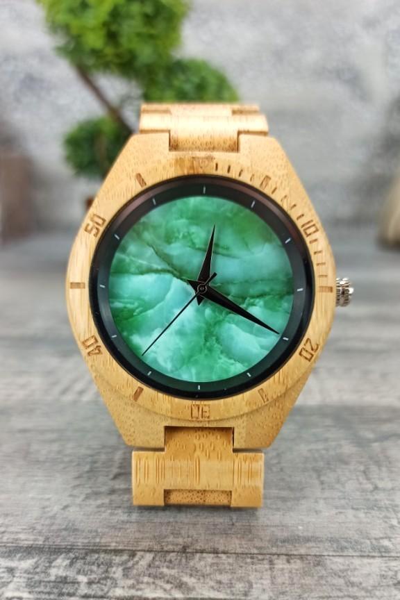 ξύλινο-ρολόι-μπρασελέ-φυσικό-πράσινο