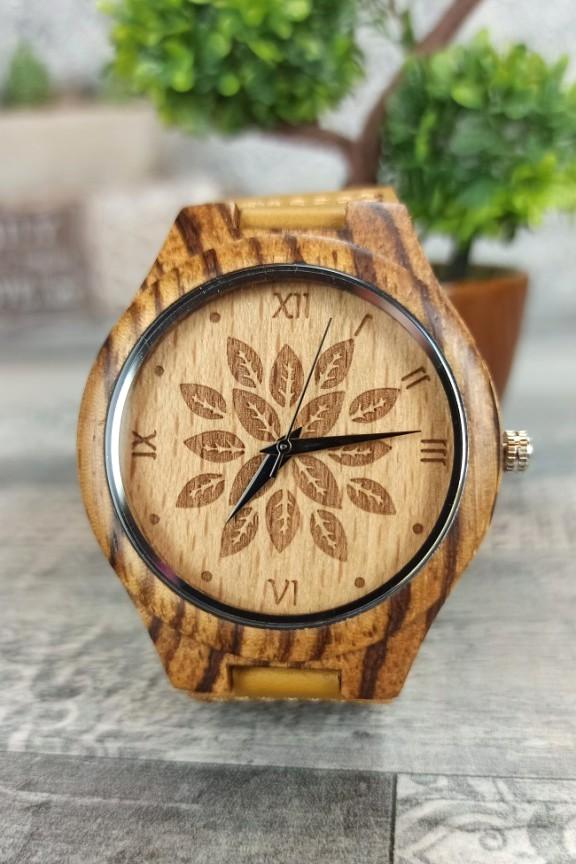 ξύλινο-ρολόι-φύλλα-λουράκι