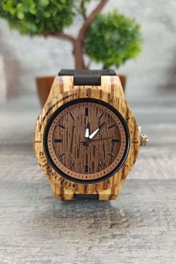 ξύλινο-ρολόι-καφέ-μαύρο-λουράκι
