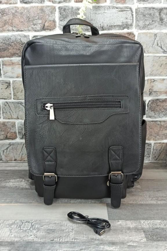 τσάντα-πλάτης-laptop-δερματίνη-μαύρη
