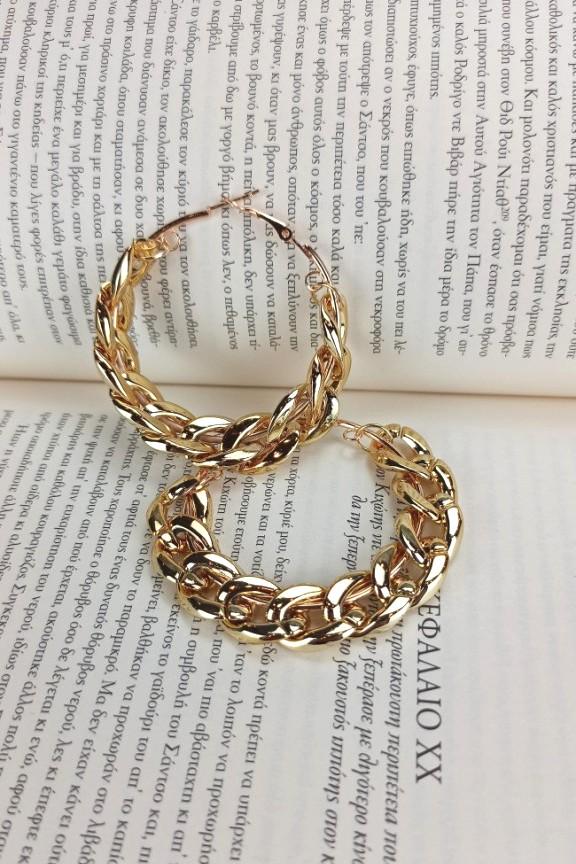 σκουλαρίκια-κρίκοι-αλυσίδα-χρυσοί