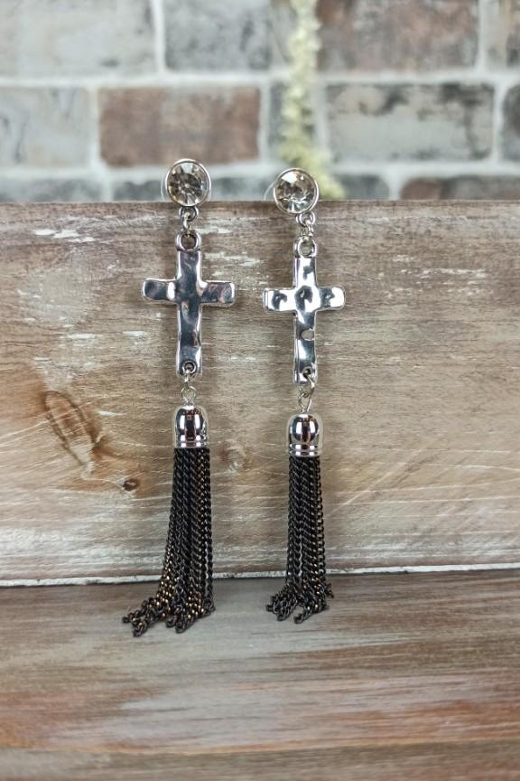 σκουλαρίκια-κρόσια-σταυρός-ασημί