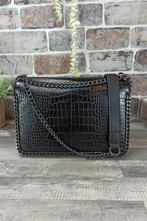 τσάντα-κροκό-μαύρη-αλυσίδα