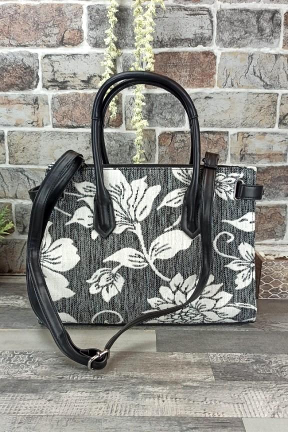 τσάντα-ώμου-φλοράλ-υφασμάτινη-γκρι