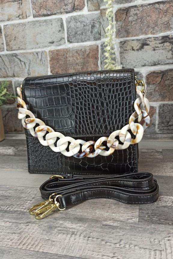 τσάντα-κροκό-μαύρη-κοκάλινη-αλυσίδα