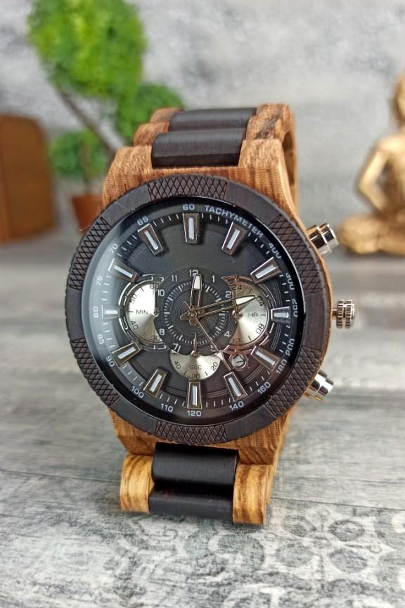 ξύλινο-ρολόι-χρονογράφος-καρυδιά-έβενος-ασημί