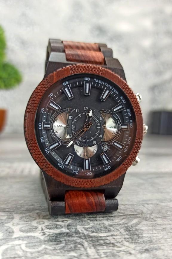ξύλινο-ρολόι-χρονογράφος-κερασιά-έβενος-ασημί
