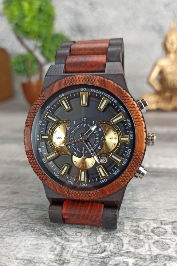 ξύλινο-ρολόι-χρονογράφος-κερασιά-έβενος-χρυσό