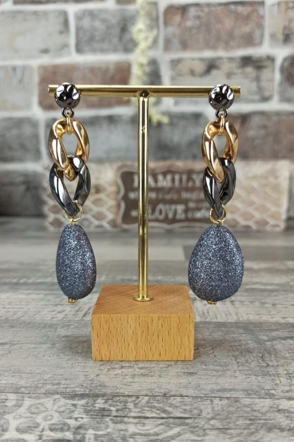 σκουλαρίκια-αλυσίδα-χρυσό-μαύρο-μεταλλικό