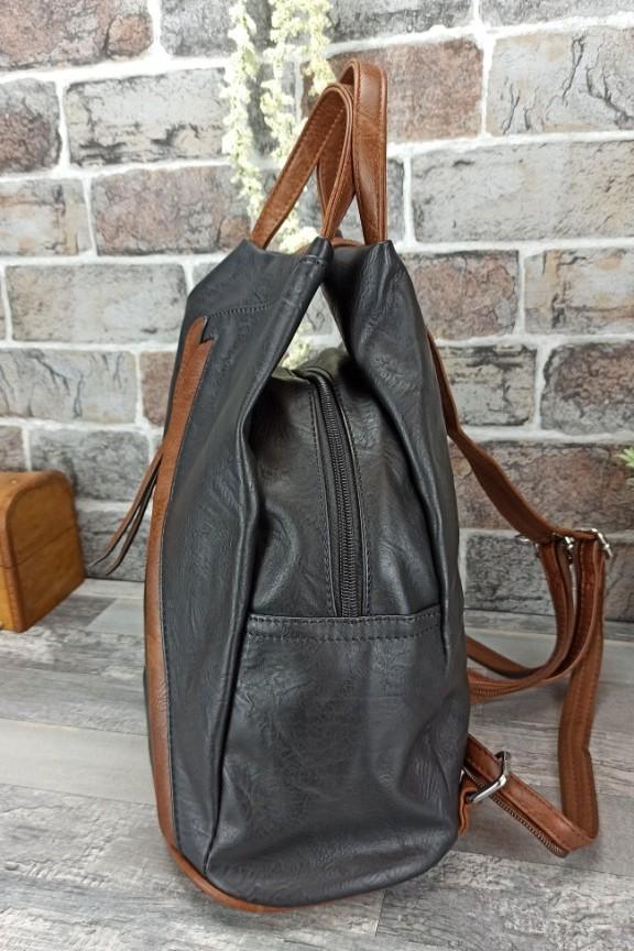 τσάντα-ώμου-πλάτης-πουγγί-μαύρο-καφέ