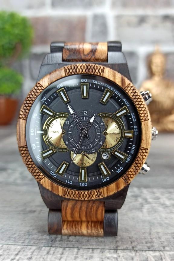 ξύλινο-ρολόι-χρονογράφος-καρυδιά-έβενος-χρυσό