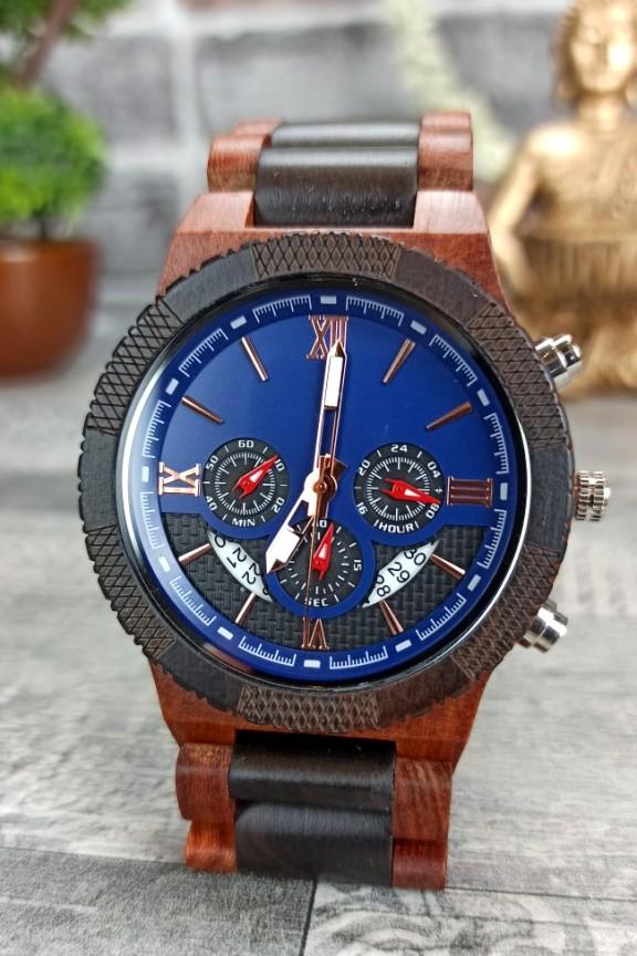 ξύλινο-ρολόι-χρονογράφος-μπλε-καντράν