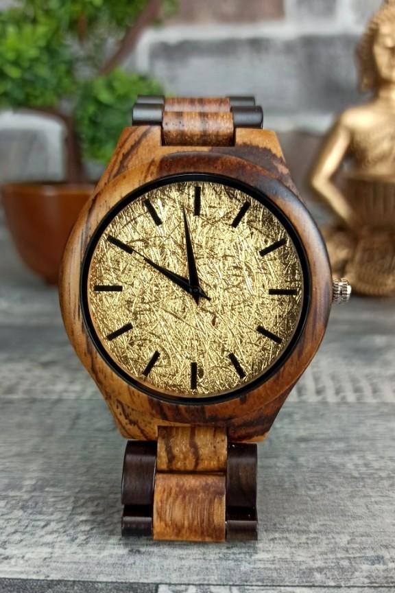 ξύλινο-ρολόι-χρυσό-μπρασελέ