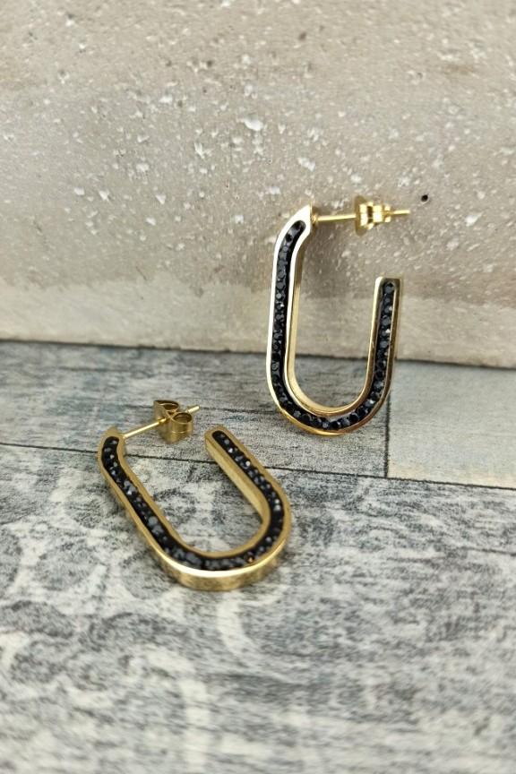 σκουλαρίκια-ατσάλι-ζιργκόν-χρυσό-μαύρο