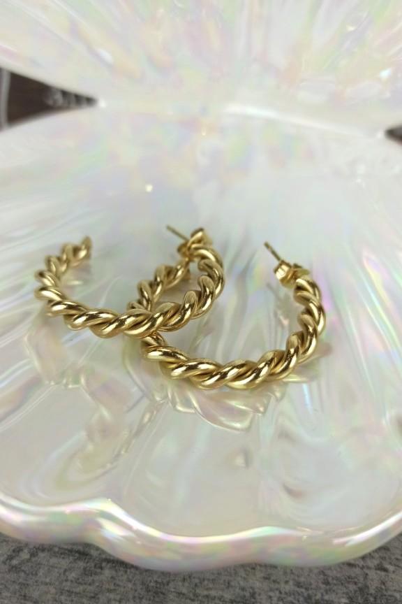 κρίκοι-πλεκτοί-ατσάλι-χρυσοί