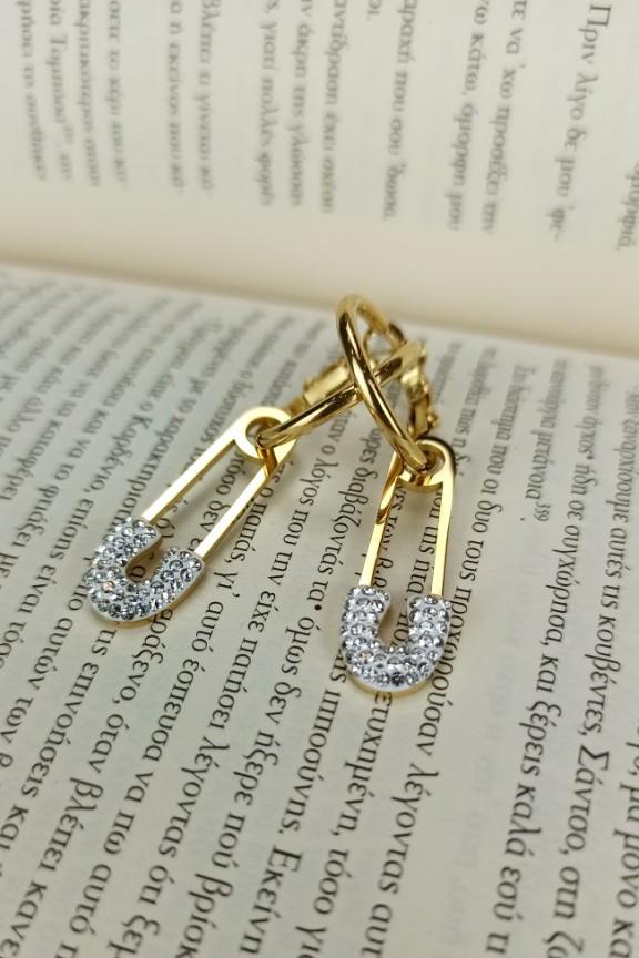 σκουλαρίκια-παραμάνα-ατσάλι-χρυσό