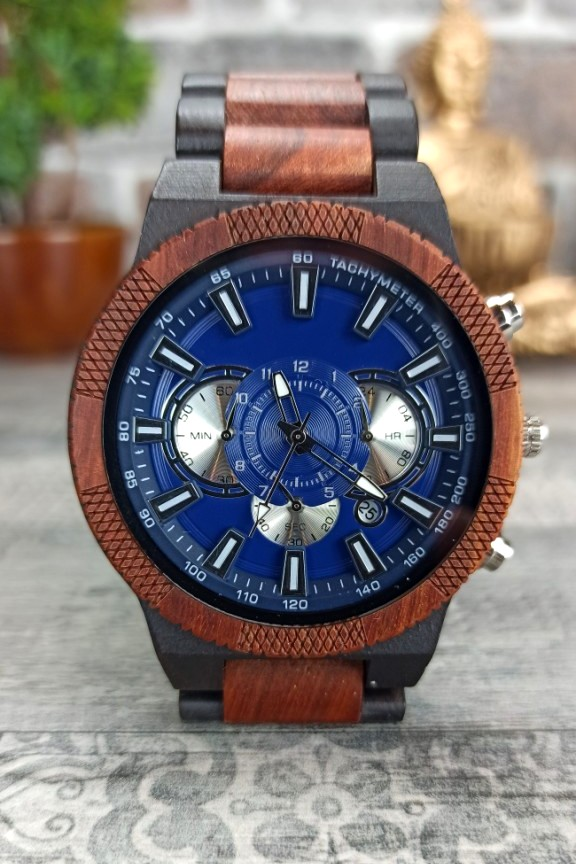 ξύλινο-ρολόι-χρονογράφος-έβενος-κερασιά-ασημί-μπλε