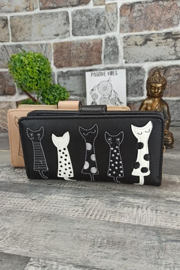 πορτοφόλι-γυναικείο-γάτες-μαύρο-μεγάλο