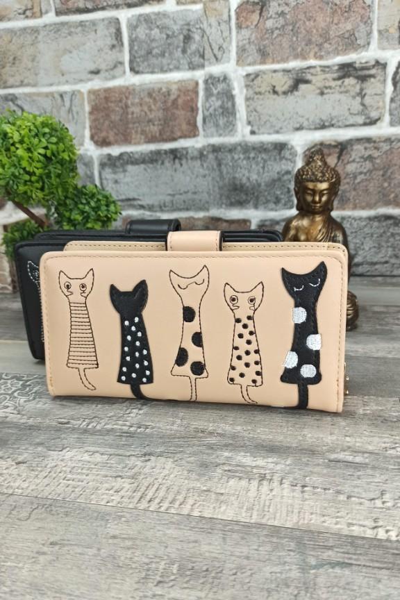 πορτοφόλι-γυναικείο-γάτες-μπεζ-μεγάλο