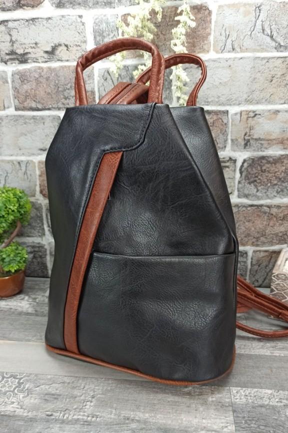 τσάντα-πλάτης-πουγγί-μαύρη-καφέ