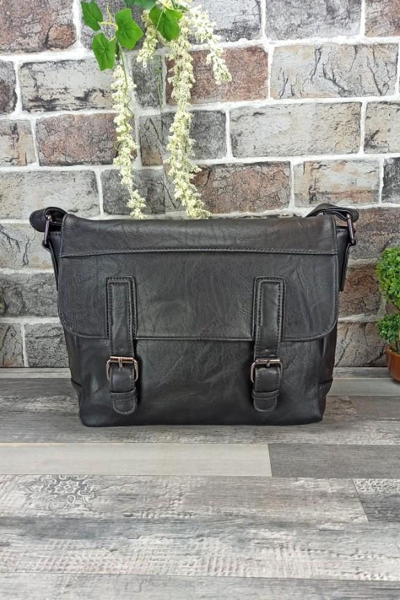 τσάντα-ταχυδρόμου-δερματίνη-μαύρη