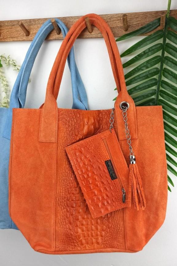 τσάντα-δέρμα-καστόρι-κροκό-πορτοκαλί