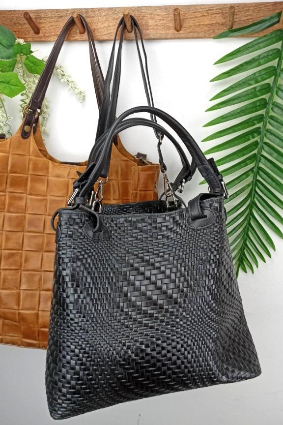 δερμάτινη-τσάντα-πλεκτή-μαύρη