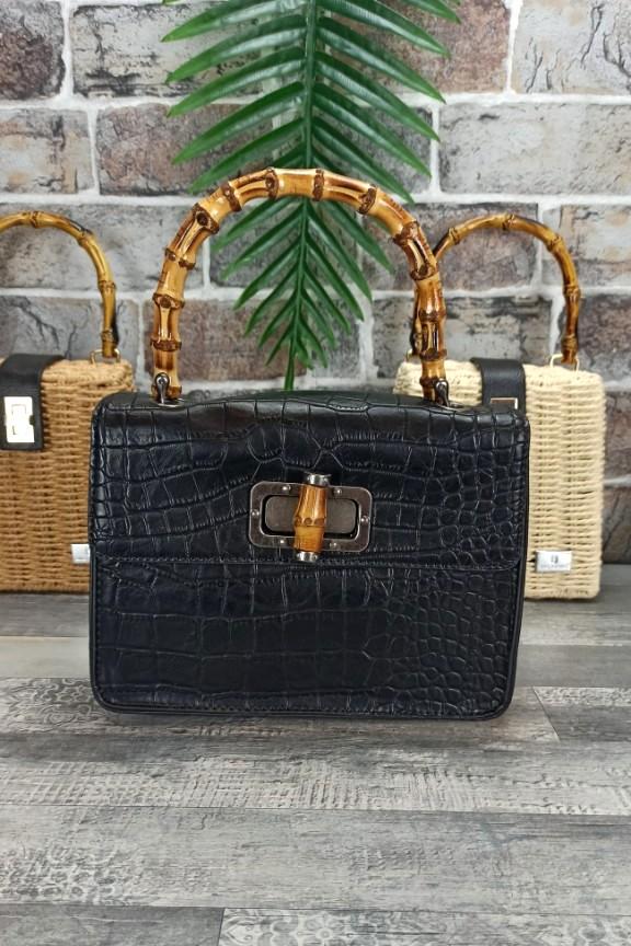 τσάντα-κροκό-λαβή-μπαμπού-μαύρη