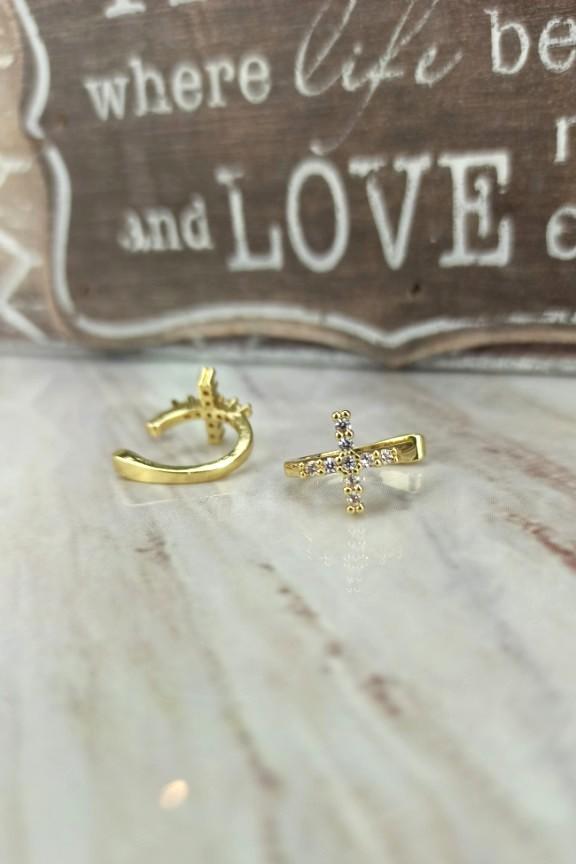 σκουλαρίκια-earcuffs-σταυρός-ατσάλι-χρυσό