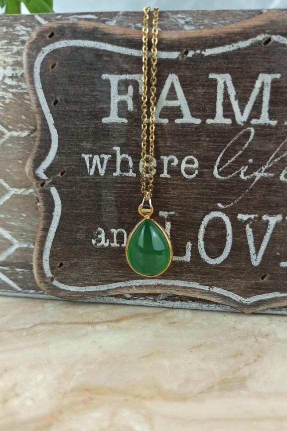 κολιέ-ατσάλι-πράσινη-πέτρα-δάκρυ