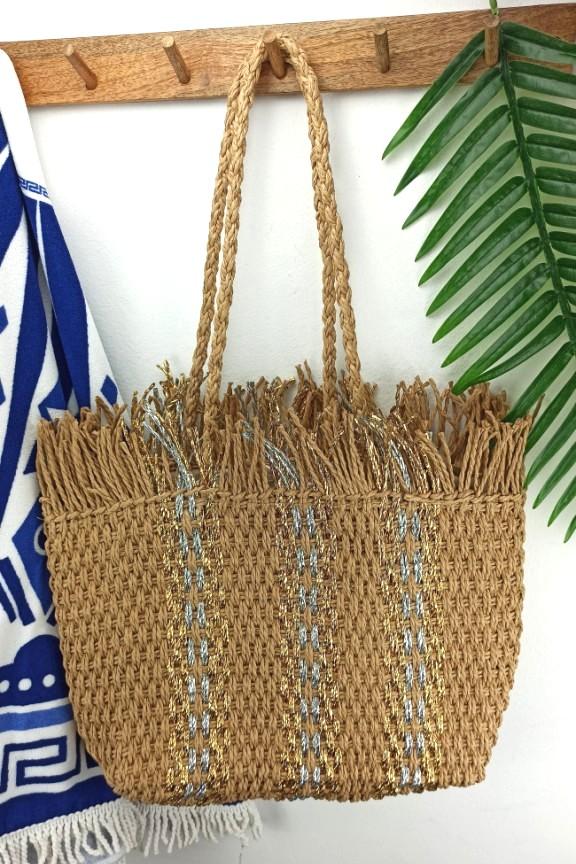 ψάθινη-τσάντα-μεγάλη-ασημί-χρυσό