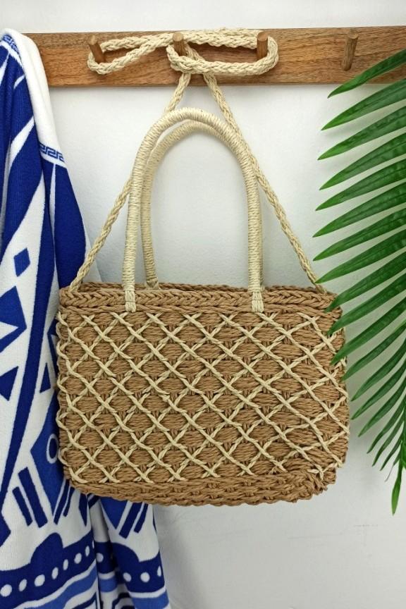 ψάθινη-τσάντα-διπλή-πλέξη-μπεζ