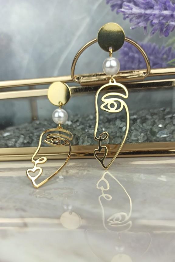 σκουλαρίκια-πρόσωπο-χρυσό