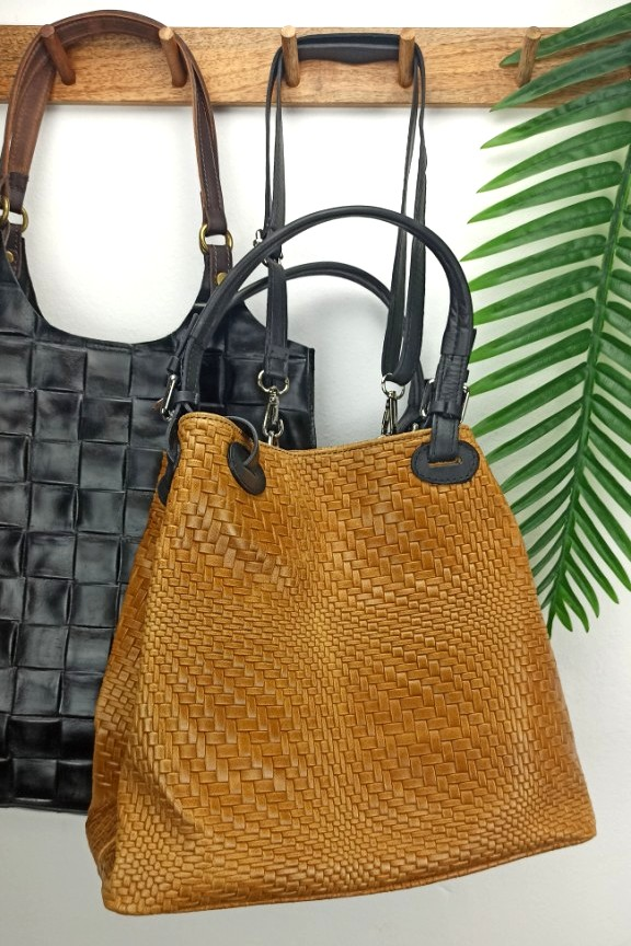 δερμάτινη-τσάντα-πλεκτή-ταμπά