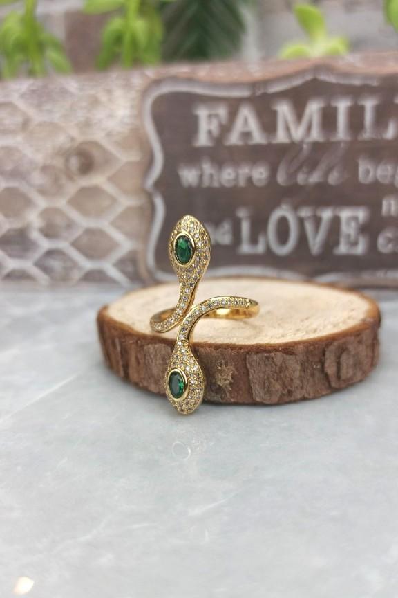 δαχτυλίδι-ατσάλι-φίδι-χρυσό