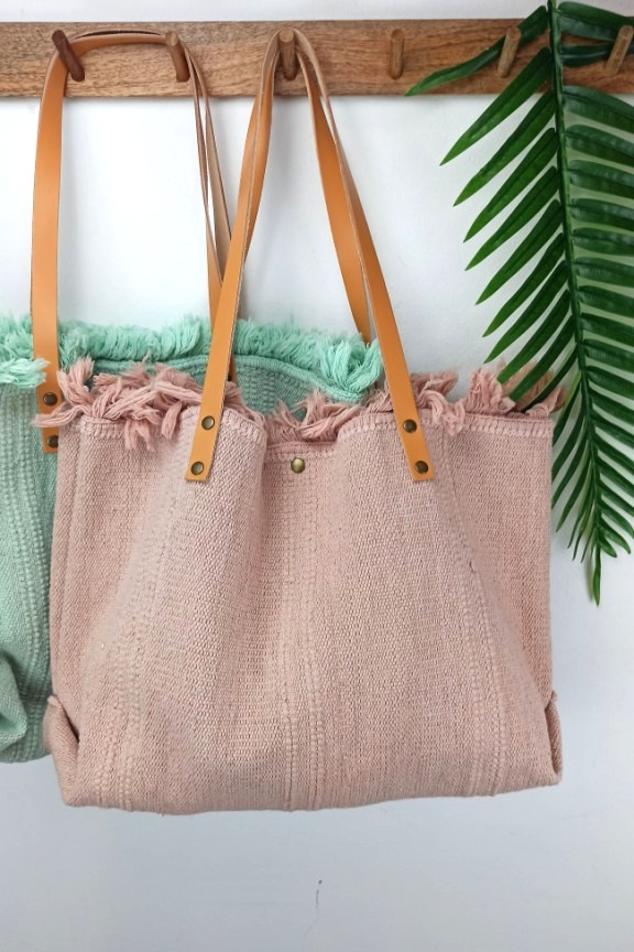 τσάντα-παραλίας-δέρμα-ροζ