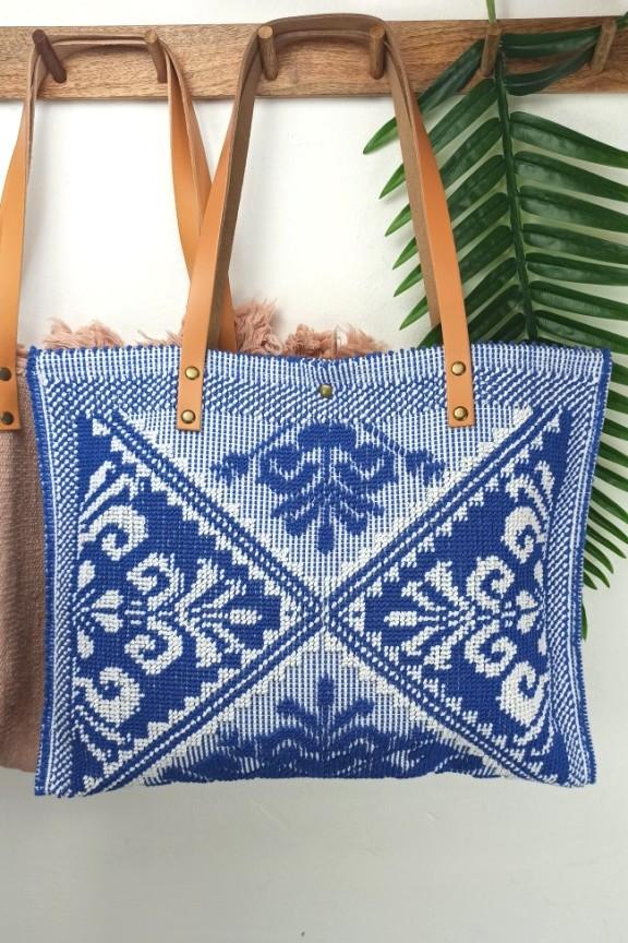τσάντα-παραλίας-δέρμα-μπλε