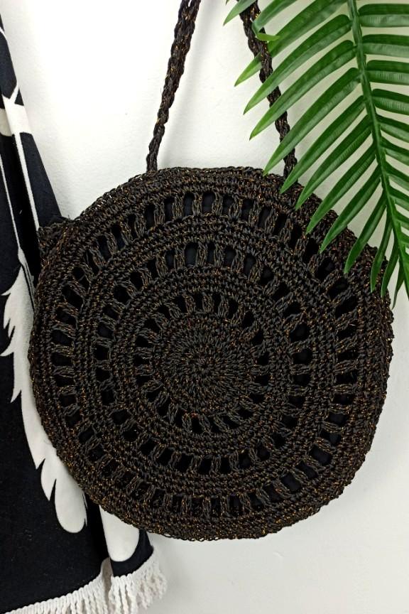 ψάθινη-στρογγυλή-τσάντα-μαύρο-χρυσό