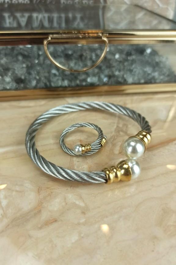 σετ-βραχιόλι-δαχτυλίδι-ατσάλι-πέρλα-ασημί
