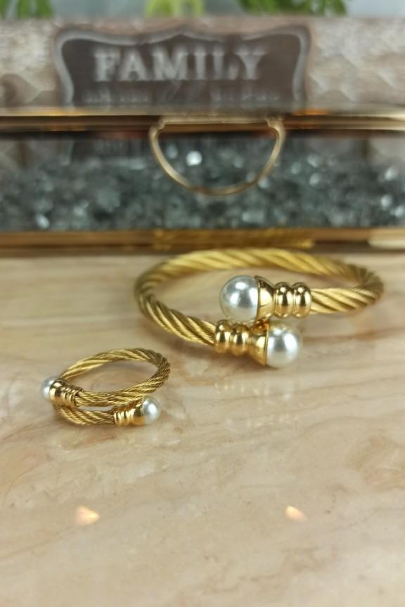 σετ-βραχιόλι-δαχτυλίδι-ατσάλι-πέρλα-χρυσό