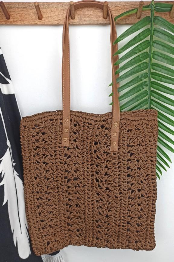 ψάθινη-τσάντα-ορθογώνια-καφέ